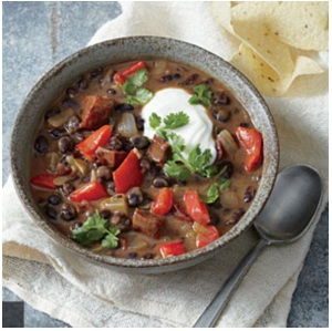 Yummy chilli black bean and chorizo soup with rice