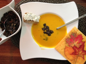 spicy, hot pumpkin soup