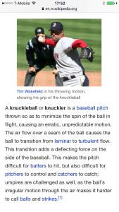 Knuckleball baseball