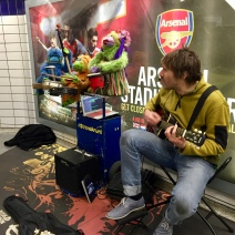 The muppets making music on the underground at Leicester Square.