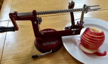 Best gift (Apple peeler, slicer, corer) from my Mama being put to use in our spring healthy eating regime.