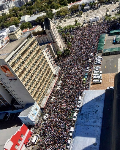 Here's another crowd pic sent to me by a friend. My heart aches for my beloved South Africa, but oh, how beautiful to see how South Africans stand together. Trusting for prayers to be answered!