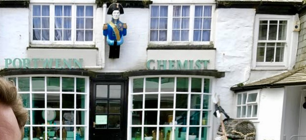 Mrs Tishell's Chemist. Sorry, the only picture I had, had Hubby in the foreground. In the interests of marital harmony this blog is semi-anonymous so I had to crop him out ... well, most of him.
