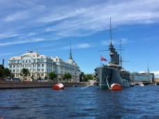 Aurora navy ship on which the Russian revolution began.