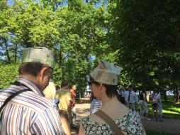 Two strange newspaper hats.
