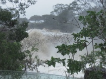 Morgan Bay dam overflowing