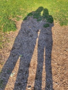 Me and my friend G in the long autumn shadows - no faces in order to protect the innocent.