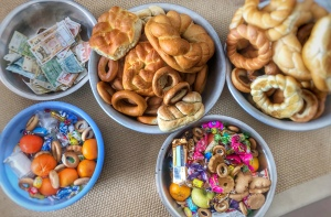 Moldovan sweets, bread and money Christmas
