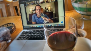 glass of wine and ac course on Zoom