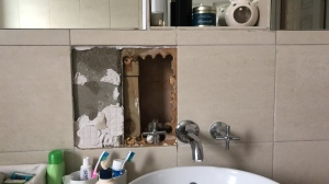 hole in bathroom wall